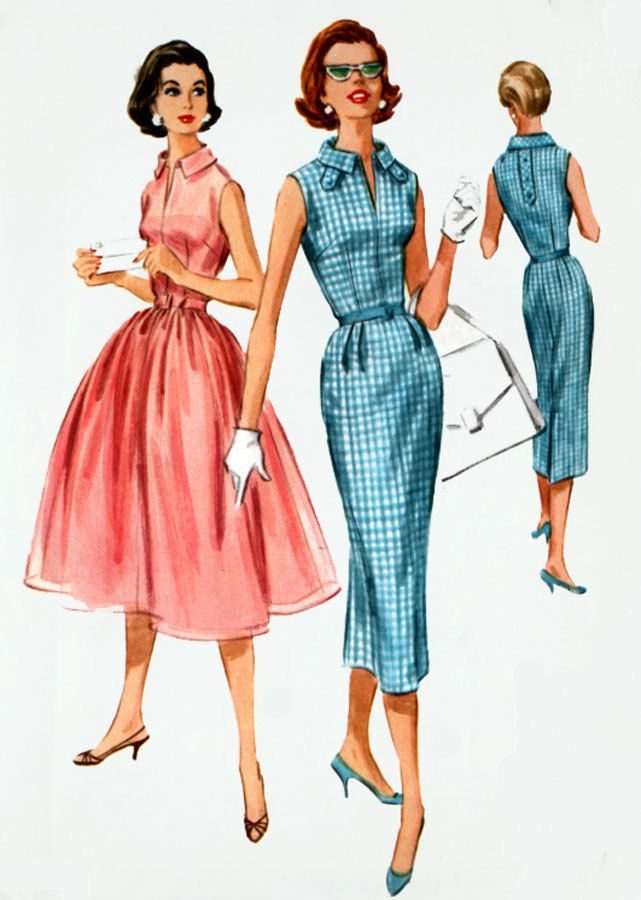 1950s Womens Shirtwaist Dress  with Slim or Full Skirt McCalls 4115 Womens 50s Vintage Sewing Pattern Size 16 Bust 34 by sandritocat on Etsy