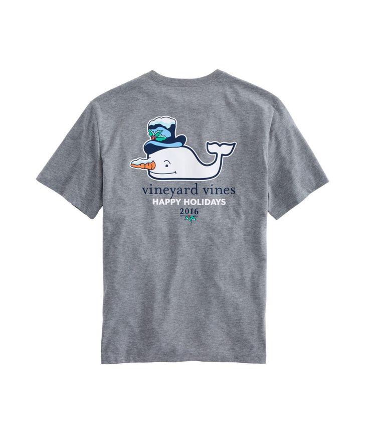 Snowman Whale Heather Pocket T-Shirt