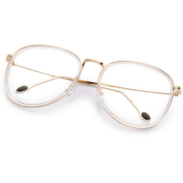 SheIn(sheinside) Gold Metal Frame Clear Lens Retro Style Glasses ($8.99) ❤ liked on Polyvore featuring accessories, eyewear, eyeglasses, retro style eyeglasses, retro glasses, clear eye glasses, lens glasses and retro eye glasses