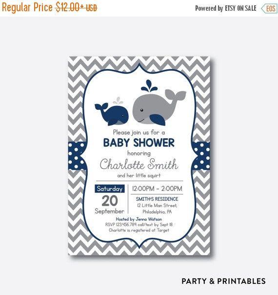 Marine baleine Baby Shower Invitation douche de bébé par everjolly