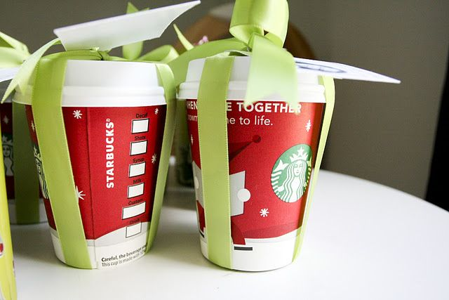 Just ask for the cup and lid and put the gift card inside. How cute!
