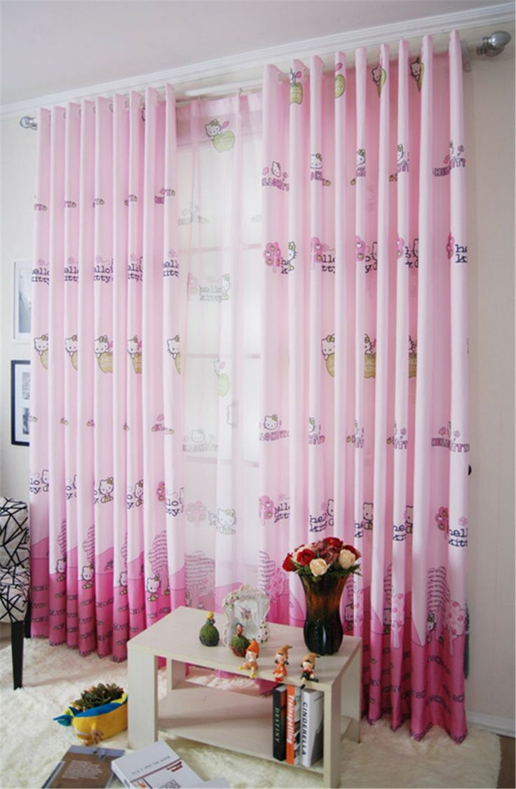 Designer small basement window curtains and pink kids plaid cute kids - Textile Decorative Window Curtains Blackout Curtains Cute Children Cartoon Curtain Princess Window Curtain Free Shipping 3