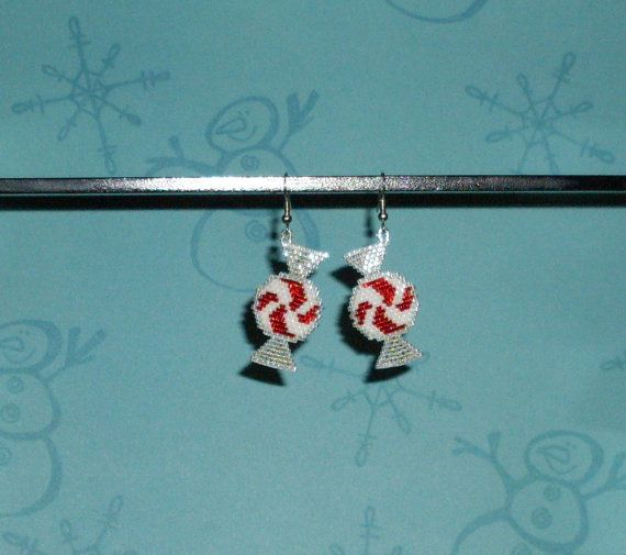 Peppermint Candy Beaded Earrings by TheCraftyCuban on Etsy