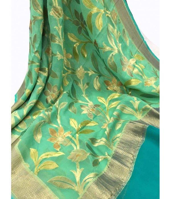 Green Handloom Banarasi Khadi Brush Dye Georgette Dupatta