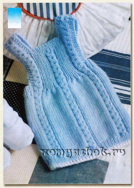 """Детское вязаное платье """"Голубая лагуна"""""""