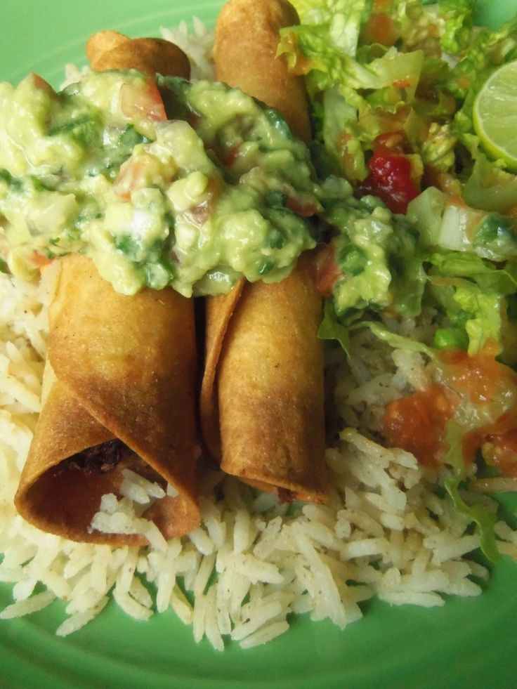 Taquitos, Flautas and Dorados ~The most common ways flautas or taquitos are served is with rice, guacamole, and salad.