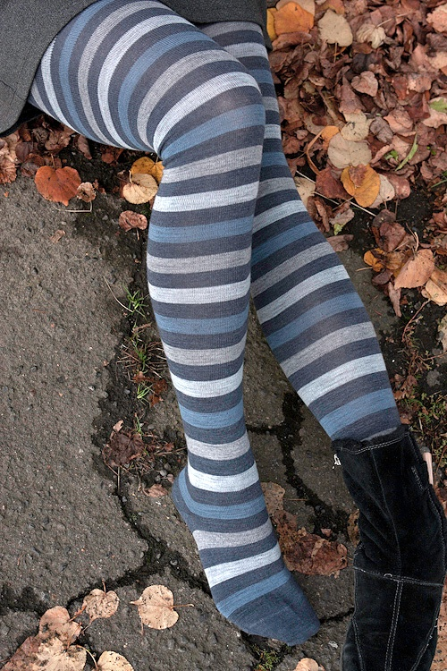 Wide stripe Cotton-lined wool tights