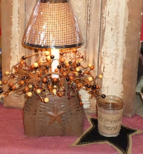 Country Primitive Basket Lamp With Berries And Lamp Shade Backet Lamp Basket Light