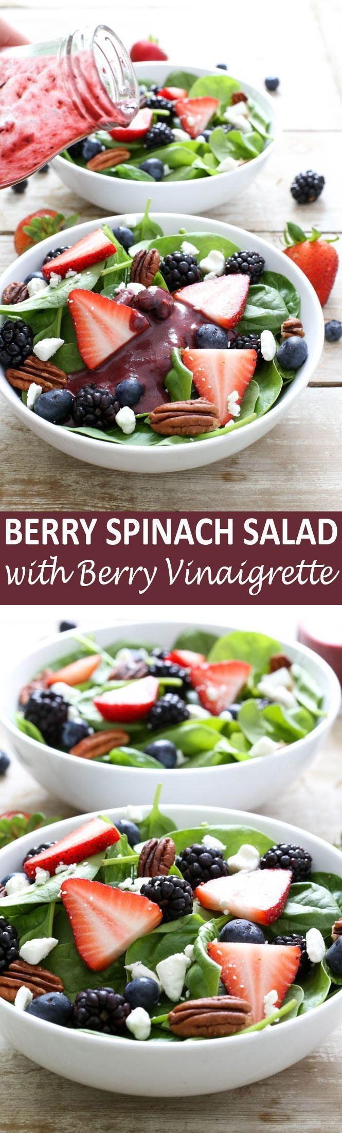 Super colorful and light Berry Spinach Salad with Berry Balsamic Vinaigrette. Takes less than 15 minutes to throw together! Recipe by chefsavvy.com