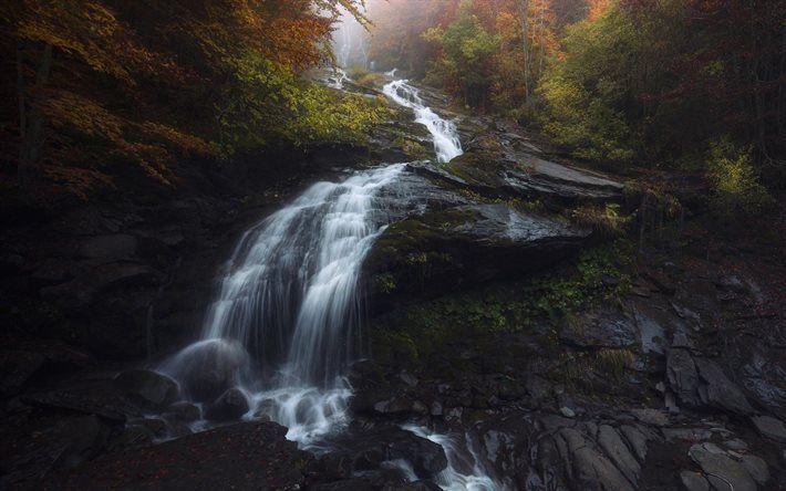 Scarica sfondi roccia, cascate, montagne, autunno, acqua