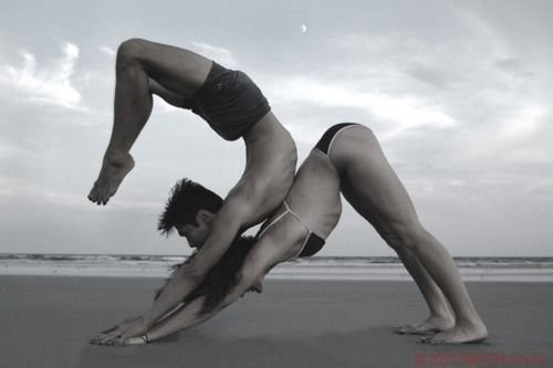 I need to do partner yoga... this looks like it's at the beach, too?? That's another thing I long to do