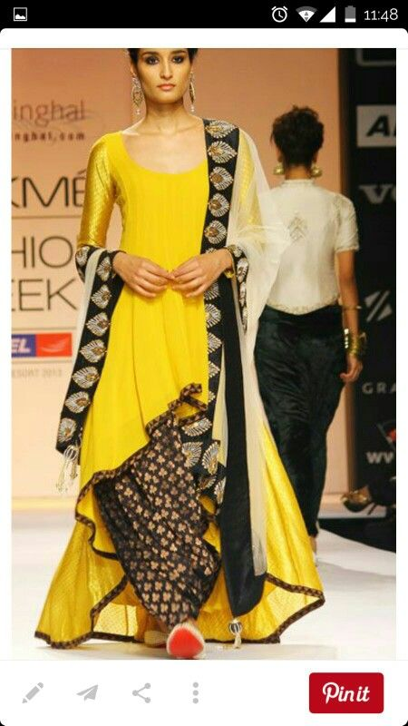 Contemporary formals. Asymmetrical Anarkali with dhoti pants