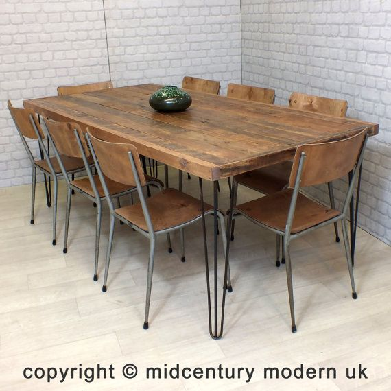 Etsy - Mid Century Modern UK | Hairpin Legs Vintage Industrial Reclaimed Timber Mid Century Farm Dining Table | £385