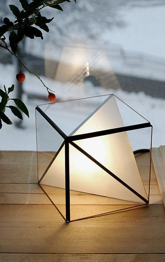Geometric Glass Lamp Table Lamp Table Stained Lamp Loft Lamp Industrial Light Glass Handmade Tablelamps In 2020 Geometric Table Lamp Modern Lamp Glass Lamp