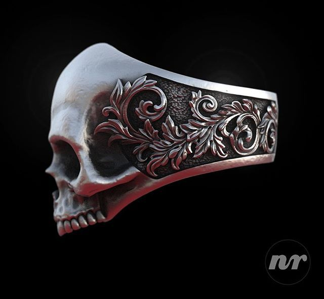 Skull & Scrolls Ring zbrush http://www.thesterlingsilver.com/product/joop-mens-cuff-links-925-sterling-silver-pendant-with-jpcf90129b000/
