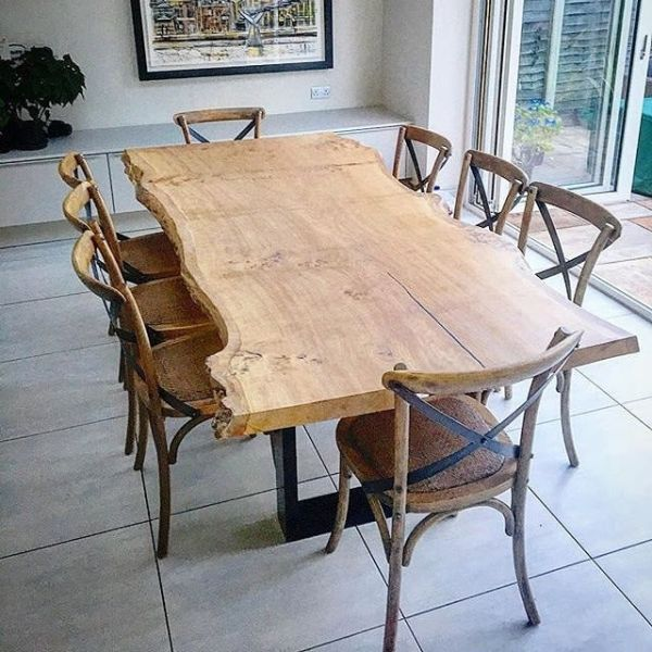 Single Slab Live Edge Oak Dining Table By Handmade In Brighton At