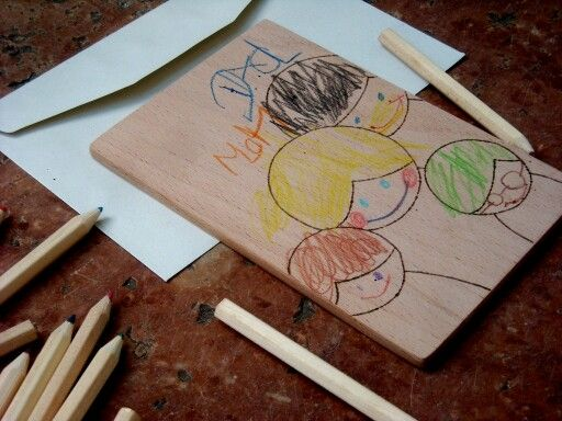 Draw it yourself - wooden postcard for the little ones