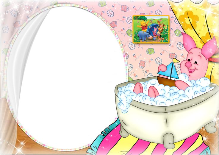 Transparent Kids PNG Frame with Piglet Winnie the Pooh
