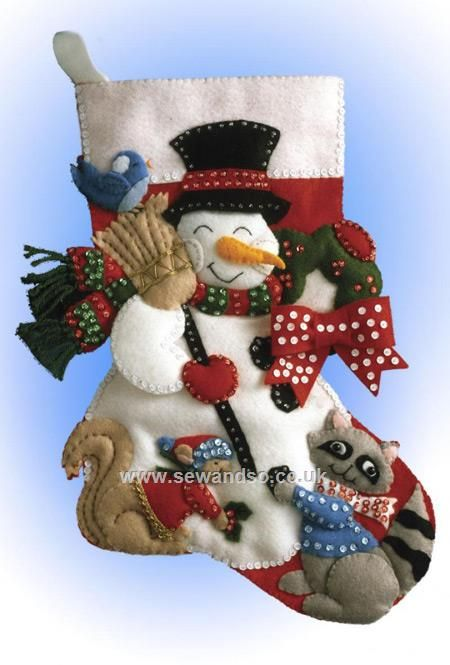 Buy Snowman With Animals Felt Stocking Kit Online at www.sewandso.co.uk