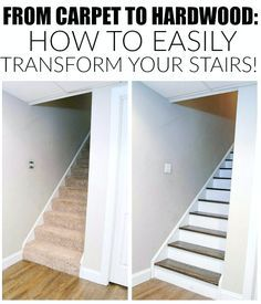 The easiest way to remove carpet and completely transform wood stairs.