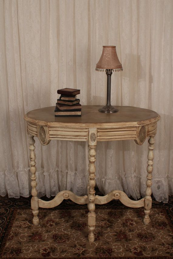 Superb Shabby Chic Antique Oval Table In Old White By TheShabbyChicAttic, $185.00