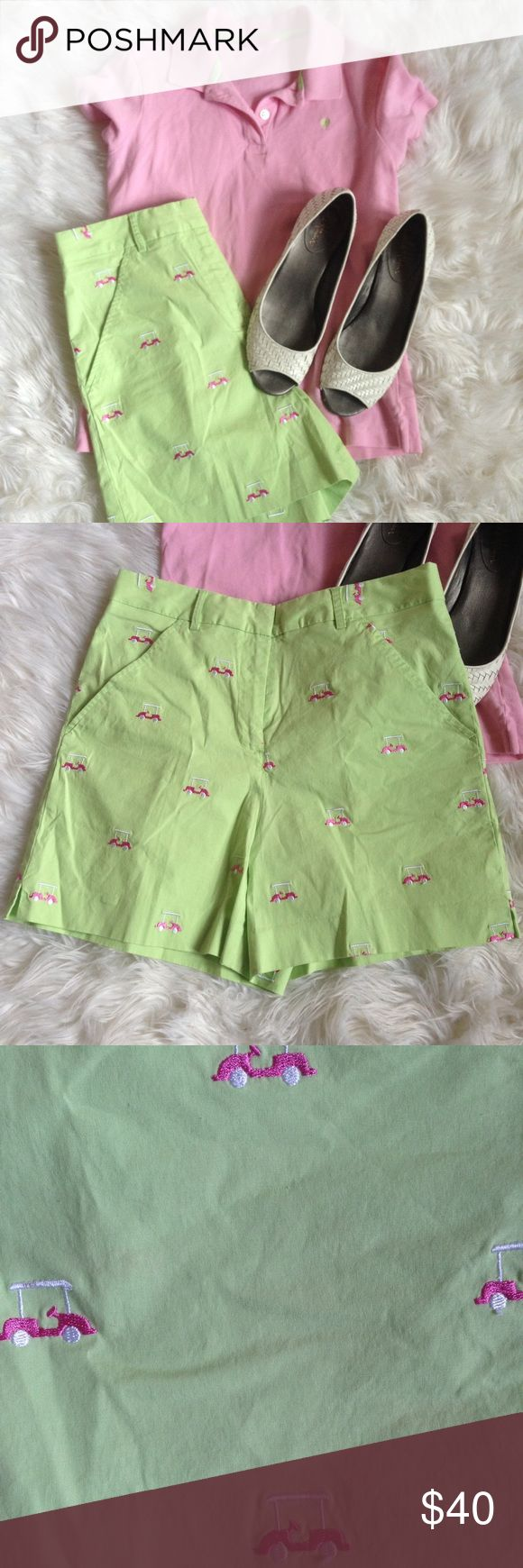 Lilly Pulitzer Green Shorts Embroidery Golf Carts Lilly Pulitzer Lime Green Shorts Embroidery with Golf Carts. High waisted. So stinking cute! Size 4. Please ask questions! Lilly Pulitzer Shorts