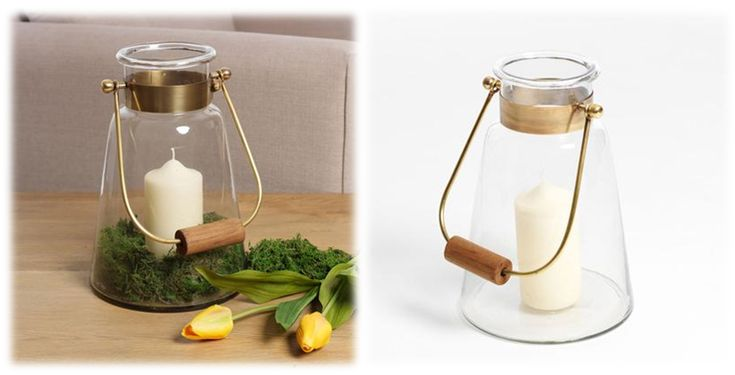 Glass Lantern, With Wood Handle and Brass Trim €69.95.