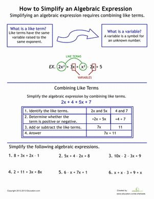 Learn how to simplify algebraic expressions step by step. Beginning algebra starts with mastering combining like terms.