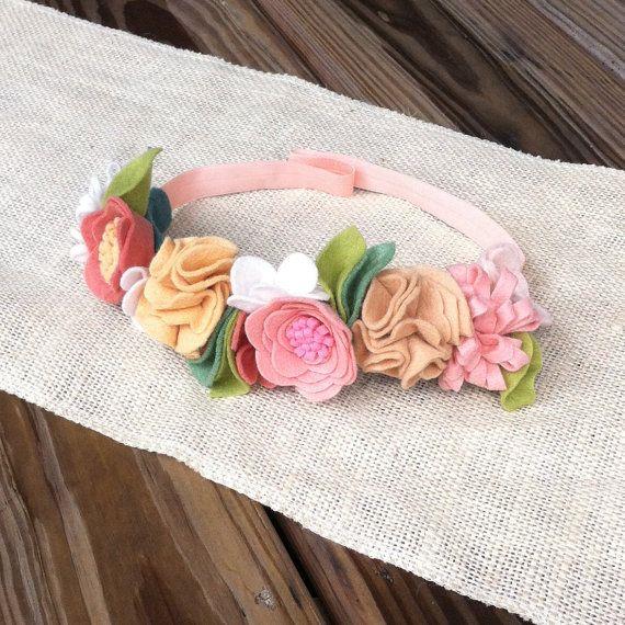 Felt Flower Crown // Pink Peach Tan // by fancyfreefinery on Etsy, $23.50