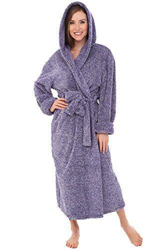 Alexander Del Rossa Womens Fleece Robe Long Plush Hooded Bathrobe Small  Medium Two Tone Purple A0304CDPMD    Visit the image link more details. c855cf0d5