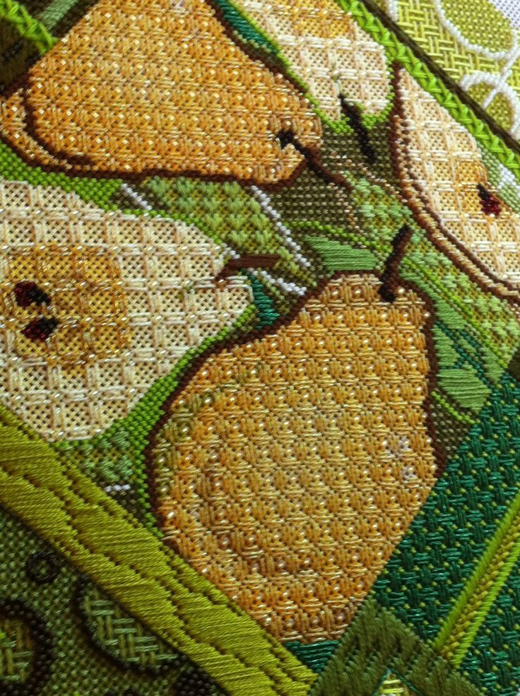 It's not your Grandmother's Needlepoint: Pear Collage Finale!
