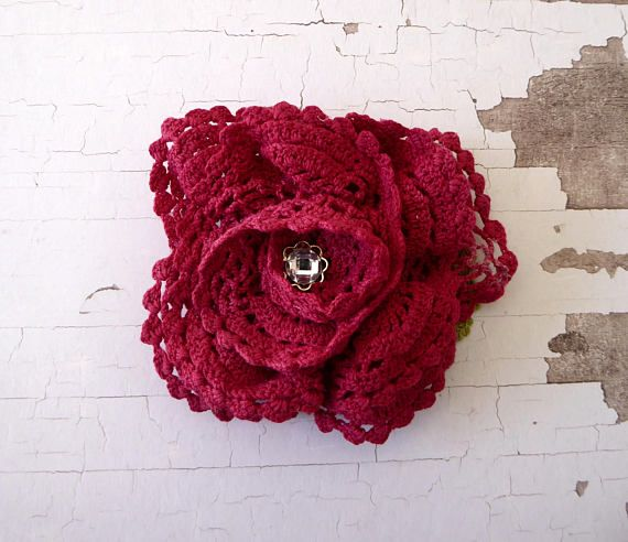 Maroon flower brooch made from hand dyed crochet repurposed