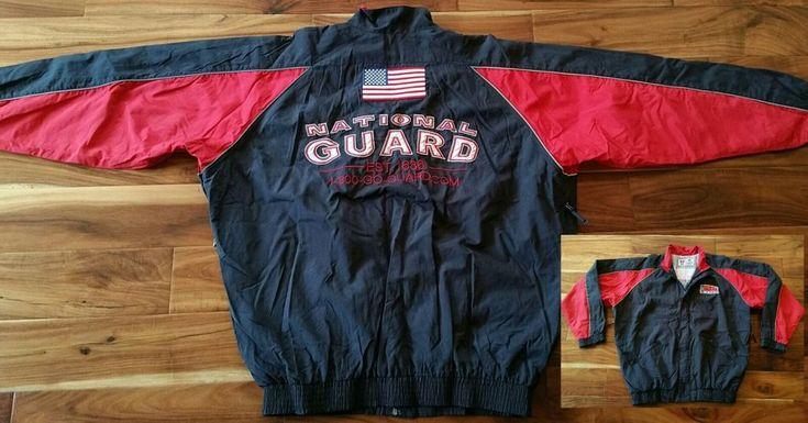 ARNG Army National Guard nylon zip Jacket lightweight Windbreaker Men Large sewn #RSPARNG #Windbreaker