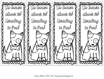 dog bookmarks to color