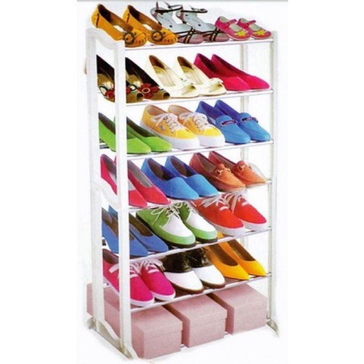 7 & 10 Tier Shoe Heels Storage Rack Organiser Shelve Stand (7 Tier Silver): Amazon.co.uk: Garden & Outdoors
