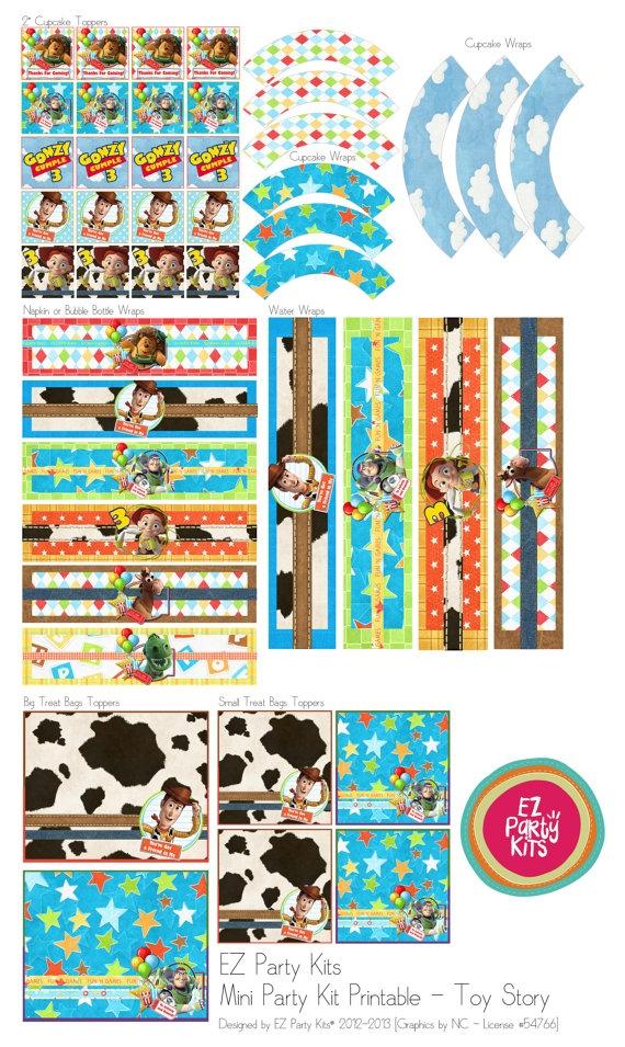 Happy Birthday TOY STORY Printable  Mini Party Set by EZPARTYKITS, $20.00