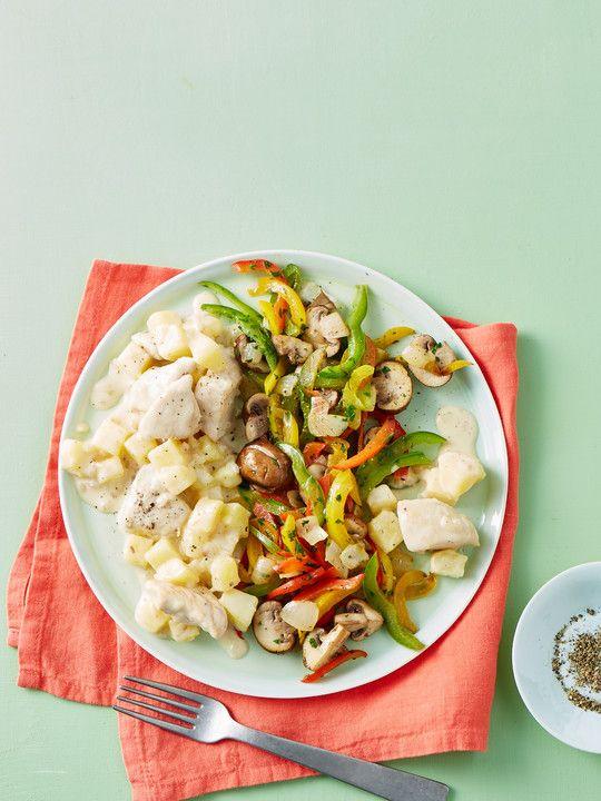 Leichte Kartoffel-Huhn-Pfanne mit Champignon-Paprika-Gemüse