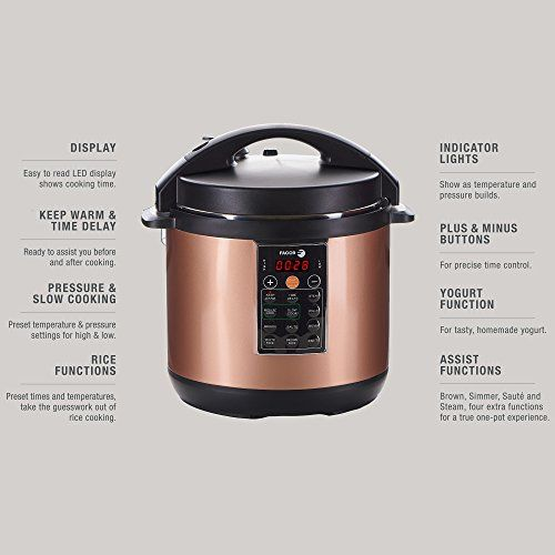 Fagor LUX Multi-Cooker, 8 quart, Copper - Electric Pressure Cooker, Slow Cooker, Rice Cooker, Yogurt Maker and more (935010053)