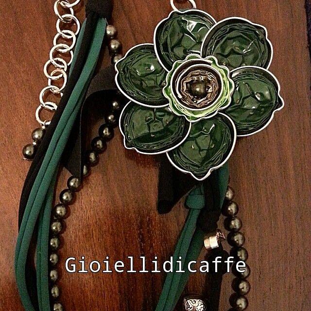 Collana verde Capriccio #gioiellidicaffe #gioielli #collana #handmade…
