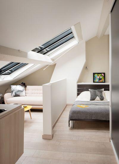 Les 25 meilleures id es de la cat gorie chambres mansard es sur pinterest chambres grenier for Amenagement petit studio
