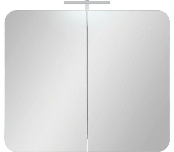 Tükrös szekrény: a Linate fürdőszoba programhoz, fehér dekor korpusszal, tükrös fronttal, 2 ajtóval, 2x 600mm LED-Flex világítással, Szé/Ma/Mé:kb.80/69/16cm