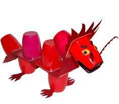 Dragon rouge, pot de yaourt et papier - Tête à modeler
