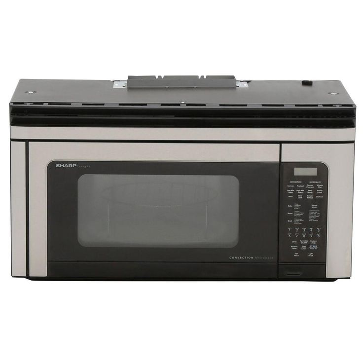 Sharp 1.1 cu. ft. 850-Watt Over the Range Convection Microwave Oven in Stainless, Black/Stainless