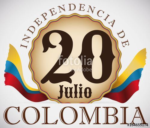 Patriotic Badge with Flags for Colombian Independence Day Celebration