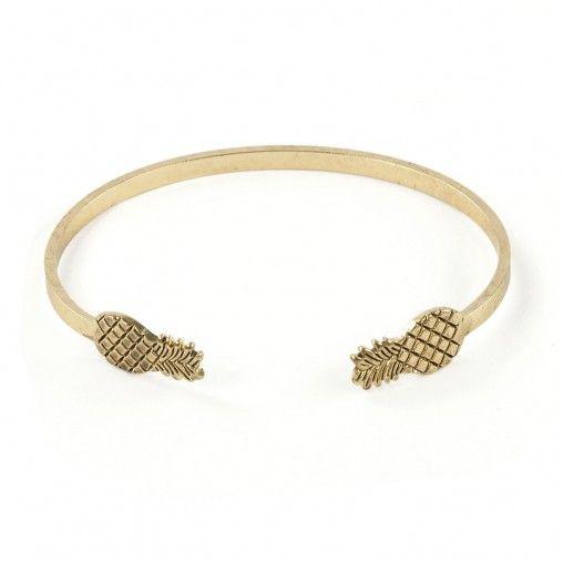 Bracelet d'esclave mince argent? avec deux petits ananas aux bouts. ? associer avec d'autres bracelets ou une montre!