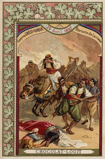 Rout of the Greeks at Larissa, Greco-Turkish War, 24 April 1897. French educational card, late 19th/early 20th century.