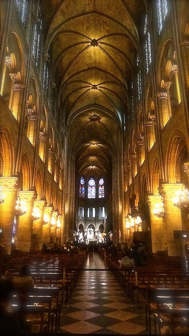 Notre Dame, Paris, France. When I went inside, mass was going on. I sat in an…