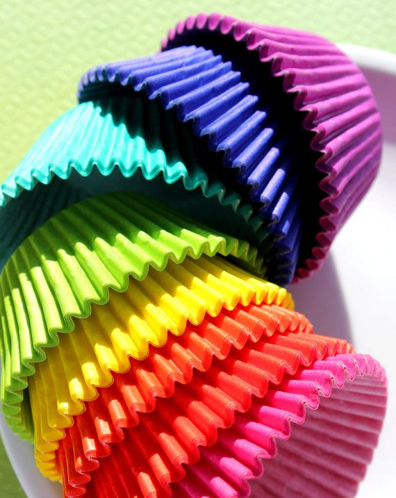 Bulk Rainbow Solid Colored Cupcake Liners, Paper Baking Cups - 8 Colors (192 count - 24 each color). $13.50, via Etsy.