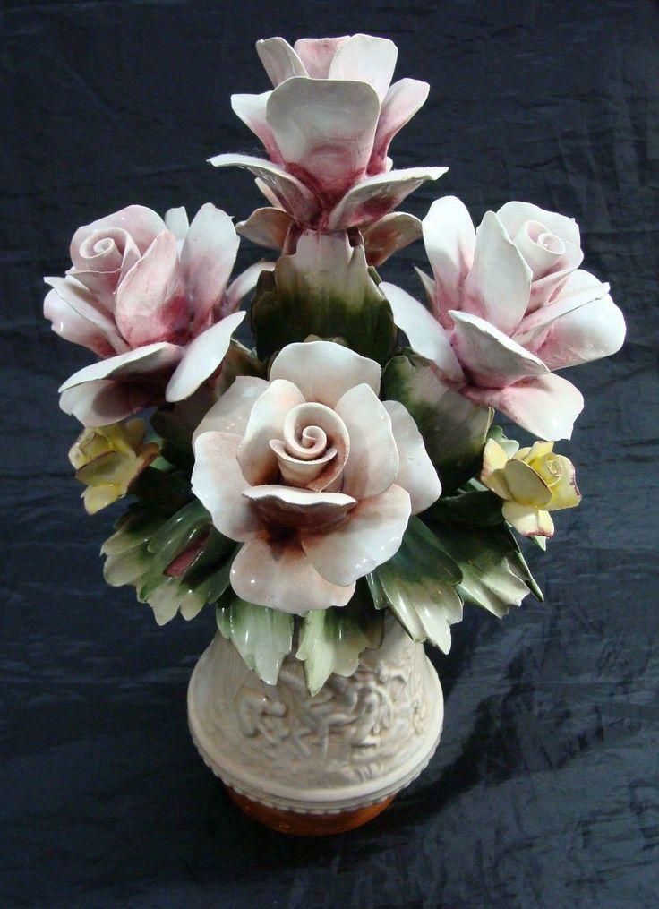VINTAGE CAPODIMONTE BOUQUET OF ROSES FLOWERS IN VASE CENTERPIECE HOME DECOR   eBay