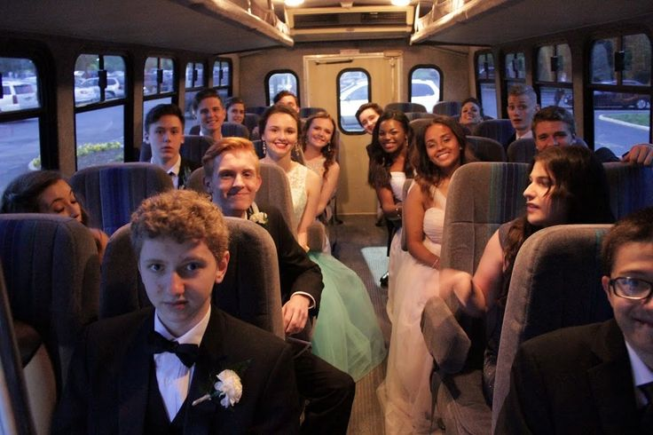 Taking the bus together to the Soiree dinner & dance location
